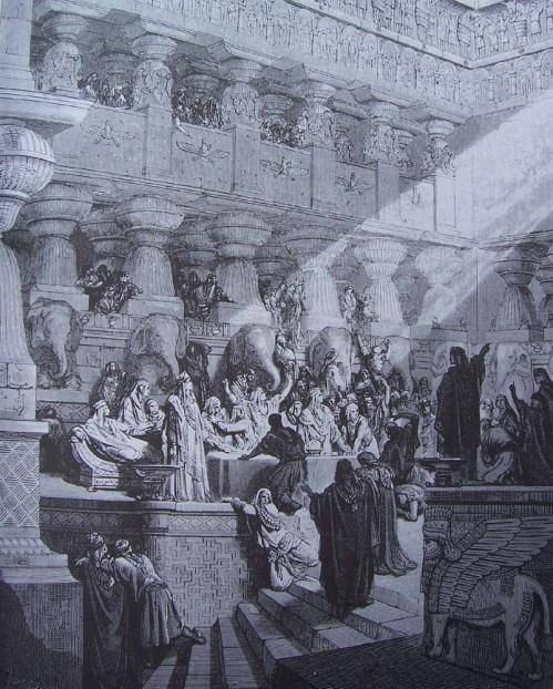 gravure dore bible - festin de balthazar