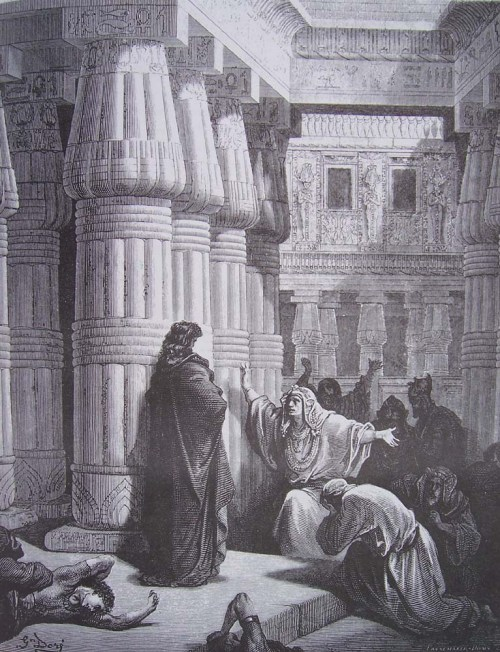 gravure dore bible - pharaon conjure moise de quitter l egypte