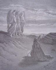 gravure dore bible - abraham recoit la visite de trois anges
