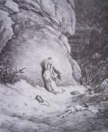 gravure dore bible - agar et ismael dans le desert