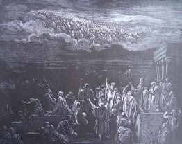 gravure dore bible - les habitants de jerusalem voient apparaitre des armees dans le ciel